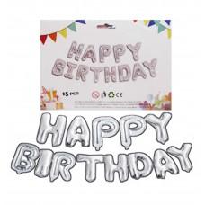 """Кульки-літери повітр.фольг. """"Happy Birthday-1215-S"""" 40см срібло"""