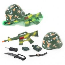 Військовий набір-каска, автом., граната, ніж, фляга 8011