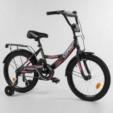 "Велосипед 18"" 2-х кол.""CORSO-CL18398""(1) чорн., ручн.гальмо,доп.колеса"