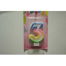 """Свічка для торта """"3"""""""