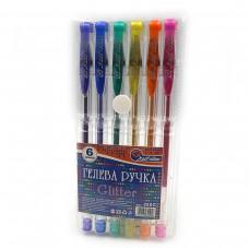 """Набір ручок гель 6кол.""""J.Otten-888G-6"""" PVC гліттер 6шт"""