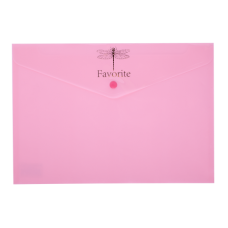 """Конверт на кнопці А-4 """"BUROMAX Favorite-3953-10"""" рожевий"""
