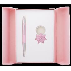 """Набір ручка кульк.+брелок """"Langres Star-122014-10"""" рожевий"""